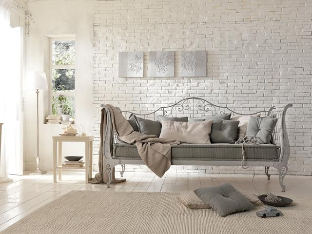 Elegant And Vinatge Sofa Design With Gray Upholster Metal Frame Creamy Area Rug Adn