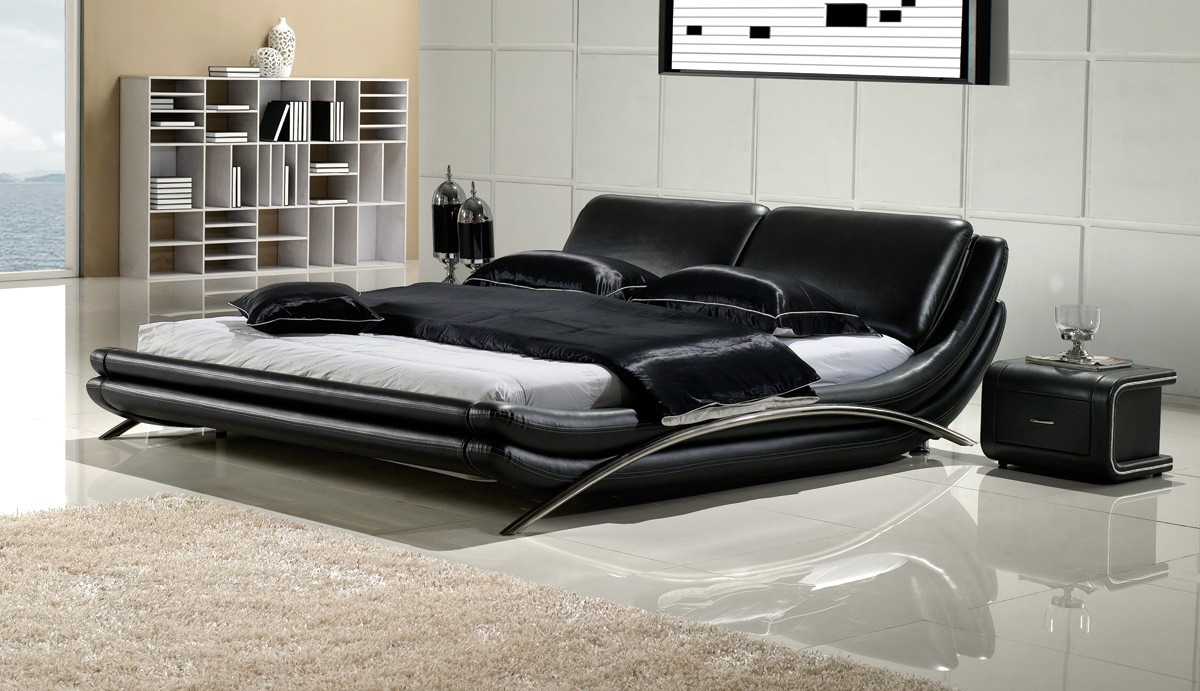 elegant modern king size bed frame with black leather and steel frame
