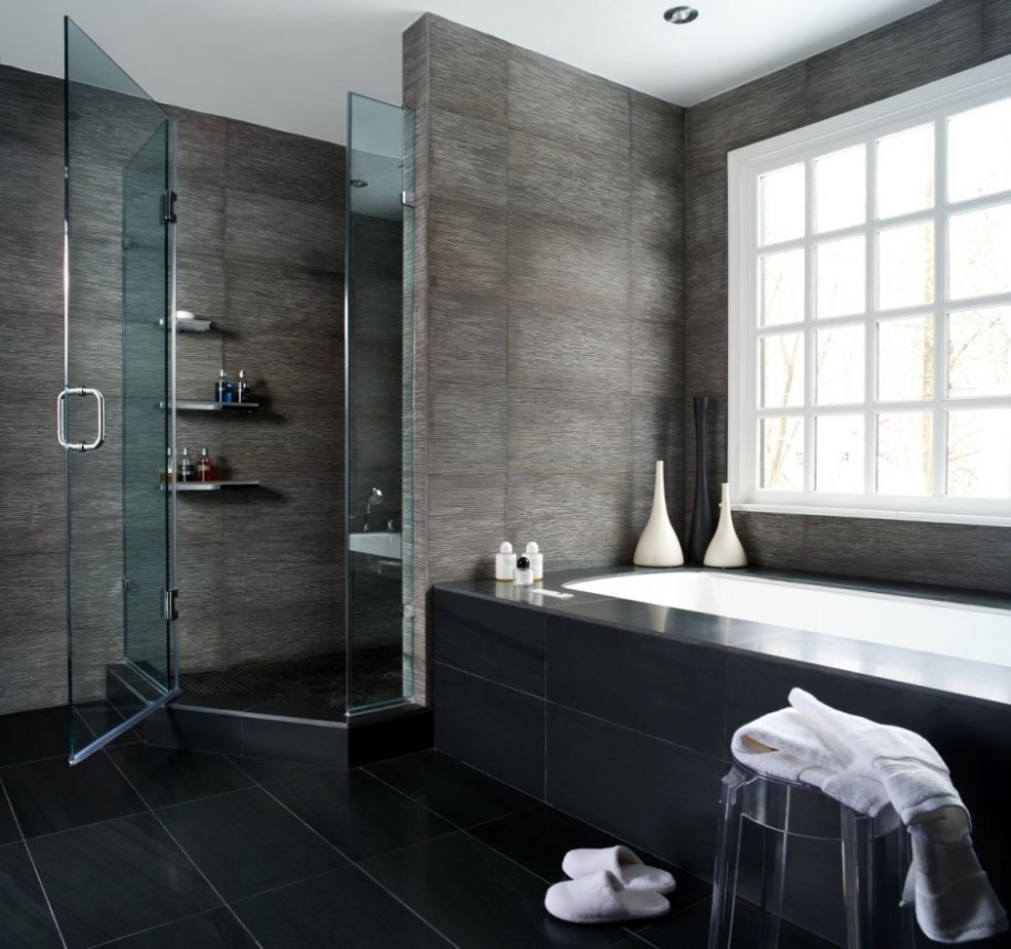 elegant serene posh bathroom design idea with frosted glass window and white concrete bathtub and walk. Posh Bathroom Design   Jewelery Box   HomesFeed