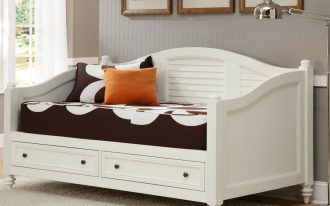 elegant white daybed cover design with storage with brown upholster with golden cushion and gray area rug