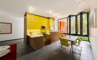 enchanting kitchen deisgn with orange yellow and green color and wooden table and cabinet and wooden floor and glass window and red floor