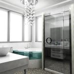 endearing urban bathroom design idea with portable shower design with corner bathtub and crystal chandelier and white vanity idea and glass window and gray patterned flooring