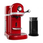 espresso machine with milk frother kitchen aid nespressso in red and black color scheme