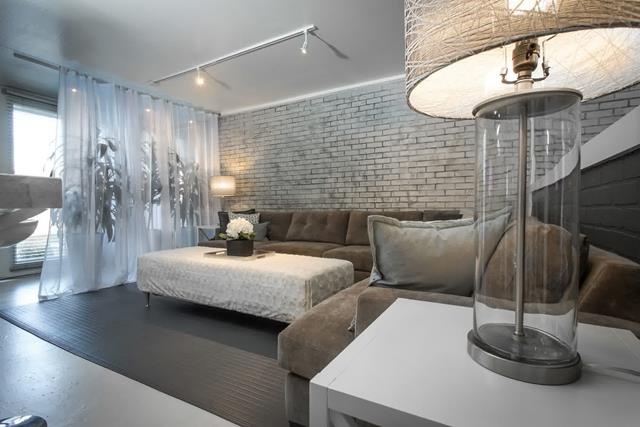 Living Room With White Brick Wall Accent Homesfeed