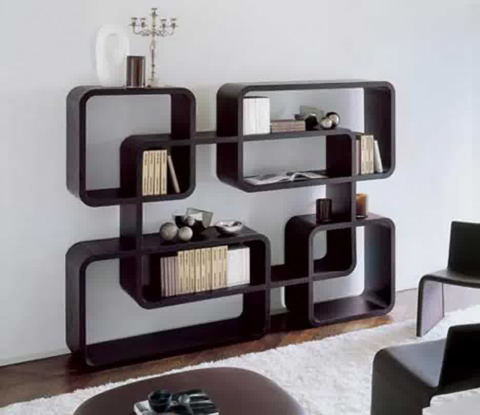 Fancy And Modern Decorative Shelving Unit With Dark