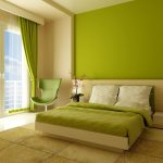 fresh green bedroom color ideas with green curtain and wall accent and white bedding with gree sheet and evening hue area rug and beige wooden platform and green chair