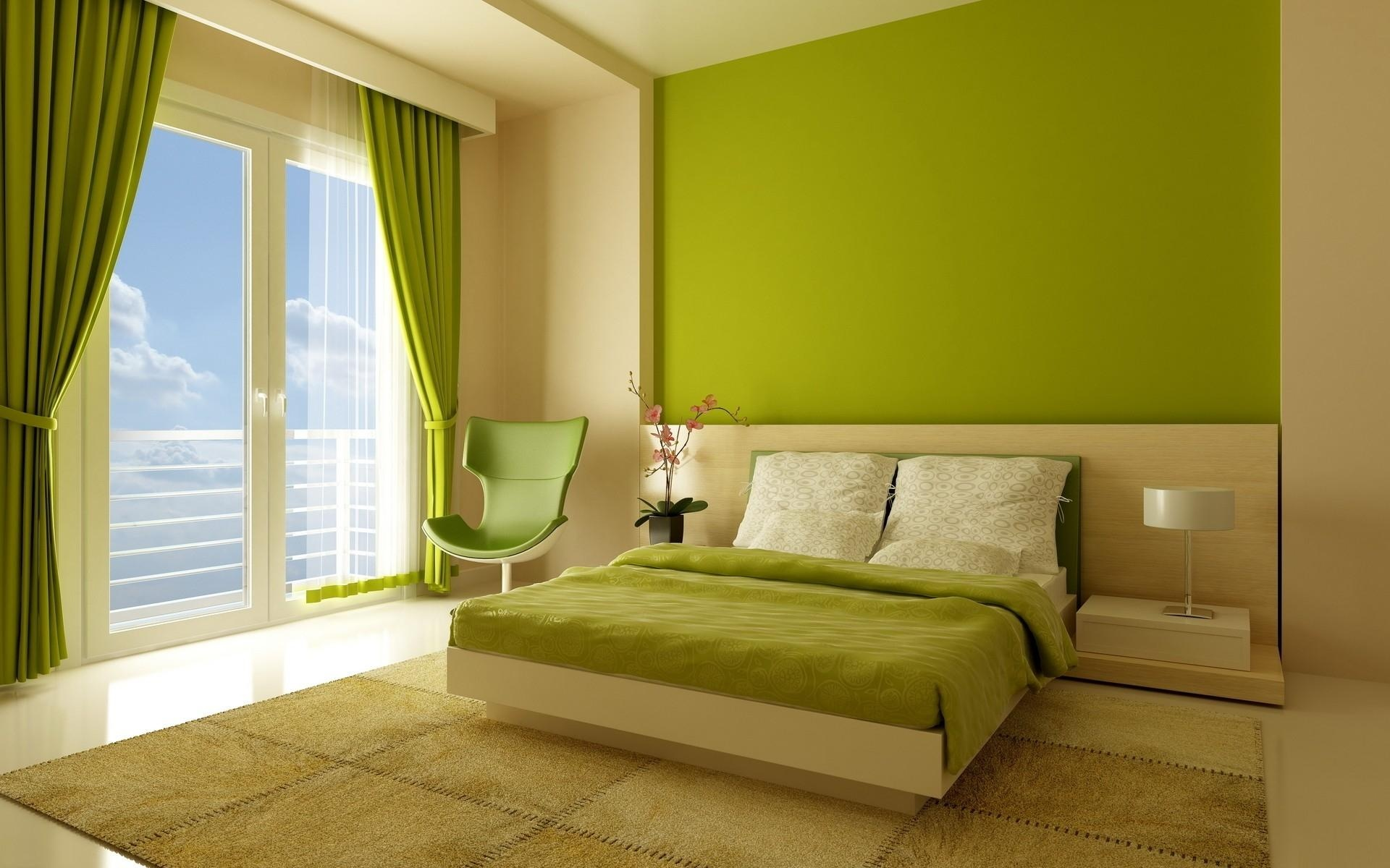 Fresh Green Bedroom Color Ideas With Green Curtain And Wall Accent And  White Bedding With Gree