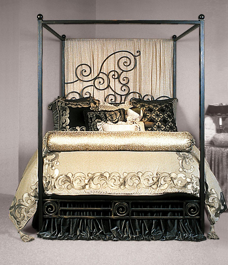 glamour iron canopy bed frame with golden comforter set plus sweet curtain and elegant pillows plus & Enjoy the Romantic Bedroom with an Iron Canopy Bed Frame | HomesFeed