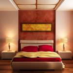 gorgeous calming bedroom color ideas with headboard canopy and wooden floor and white nightstands and red bedding and yellow sheet