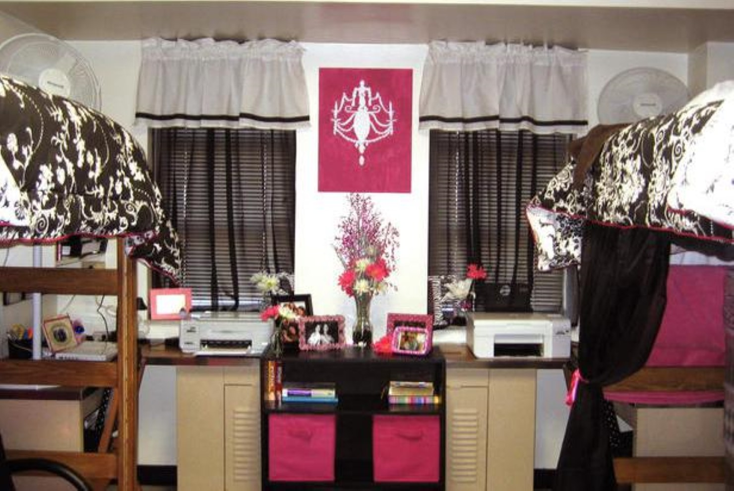 Gorgeous College Dorm Room Ida With Pink Accent And White Brown Cow  Patterned Sheet And Black Part 84