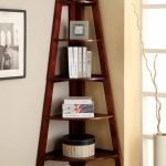 gorgeous corner furnished modern ladder bookshelf idea with creamy painted wall and pottery decoration on wooden floor