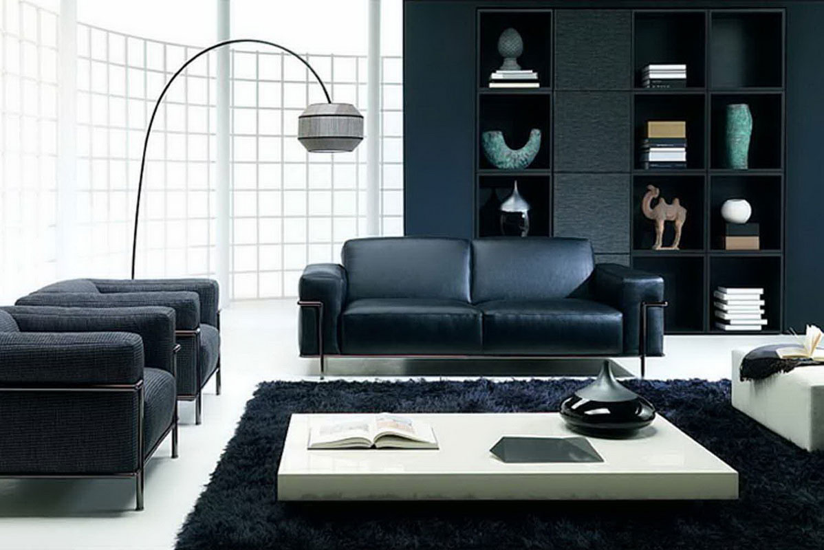 black living room rugs. gorgeous exclusive black living room design with leather sofa and curved  floor lamp storage Black Living Room Rugs Intentional Decoration for Classy Look