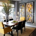 gorgeous modern dining room idea with awesome wall palette and ope plan and orange and black chairs and indoor plant and creamy area rug