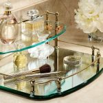 gorgeous vanity dresser tray set idea with multilevels style with metallic frame and white floral decortaion