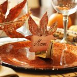 great-Thanksgiving-place-card-idea-by-sheena-with-origami-turkey-place-card-and-fallen-leaves-with-placing-the-person's-name