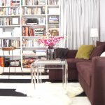 great fall interior decoration idea with floor to ceiling bookshelves with brown sofa bed ikea with acrylic coffee table and black white area rug
