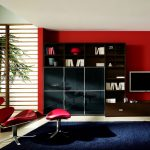 great living room design with red siding paint and black wooden racks and glass window and reclining chair and black area rug
