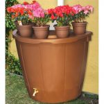 great-looking-of-Koolatron-50-gallon-decorative-rain-barrel-with-planter-pots-also-made-of-durable-plastic-for-worst-and-extreme-conditions