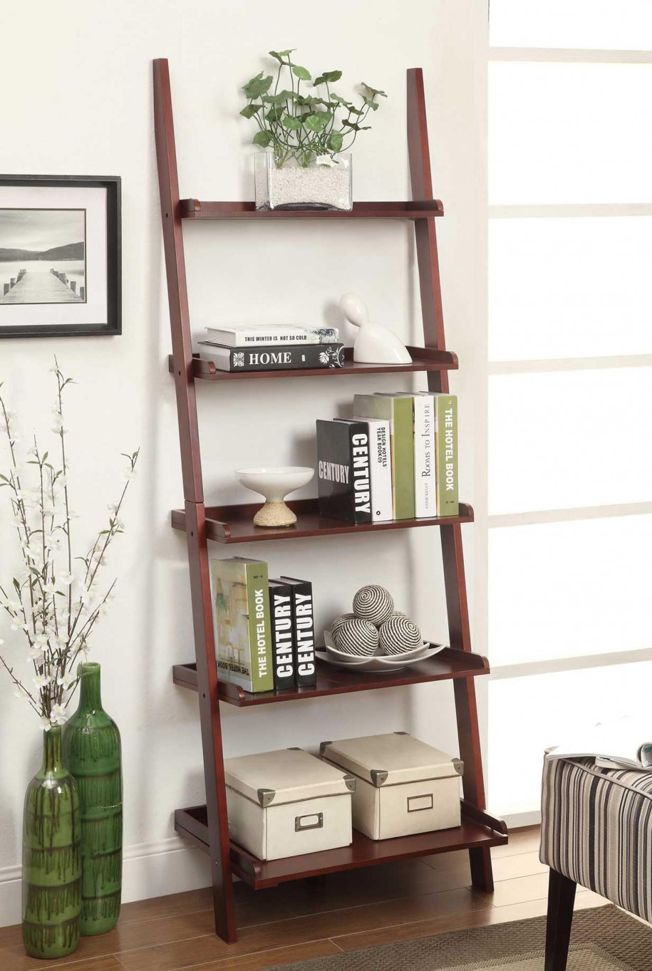 Contemporary ladder bookshelves ideas for unique interior for Home interior shelf designs