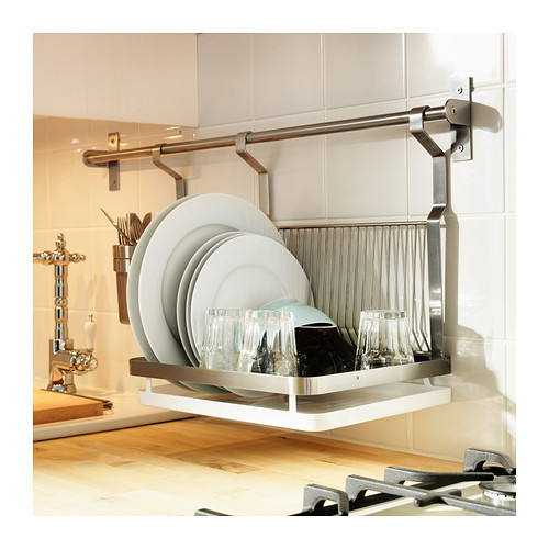 Wall mounted drying rack for the dishes homesfeed for Kitchen drying rack ikea