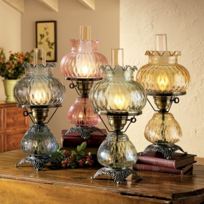 Hand Blown Glass Hurricane Lamp Features With A