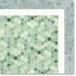 hexagon ming green marble tile combined with grey tiles for mesmerizing bathroom wall ideas