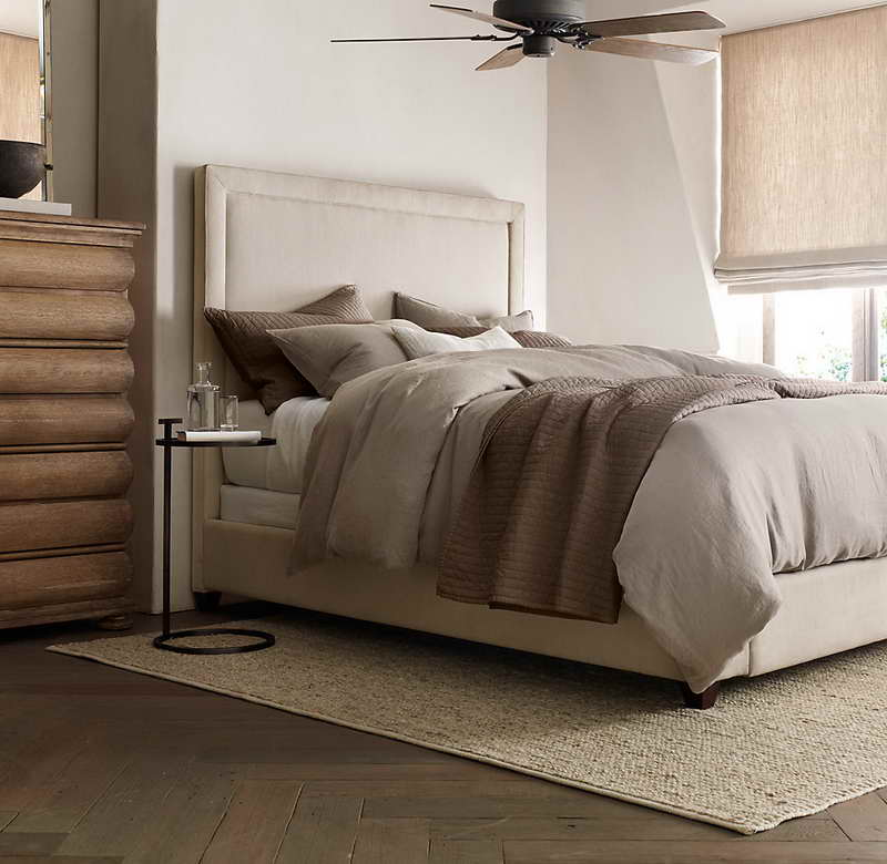 high quality restoration hardware linen sheets in brown with middle age style plus round table and beige rug