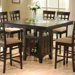 high top table sets with wine storage plus seven comfortable dining chairs and light laminating floor and glass vase
