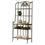 hillsdale-bakers-rack-in-brown-color-with-an-intricate-floral-design-at-the-top-and-a-cool-crossbar-pattern-also-3-shelves-and-built-in-wine-rack-from-strudy-metal