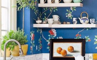 kitchen design idea with monochrome wallpaper decoration and white cabnetry and wall racks and indoor plants
