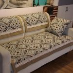 linen custom couch covers with stunning pattern plus cozy cushion and brown wooden laminate floor in the living room