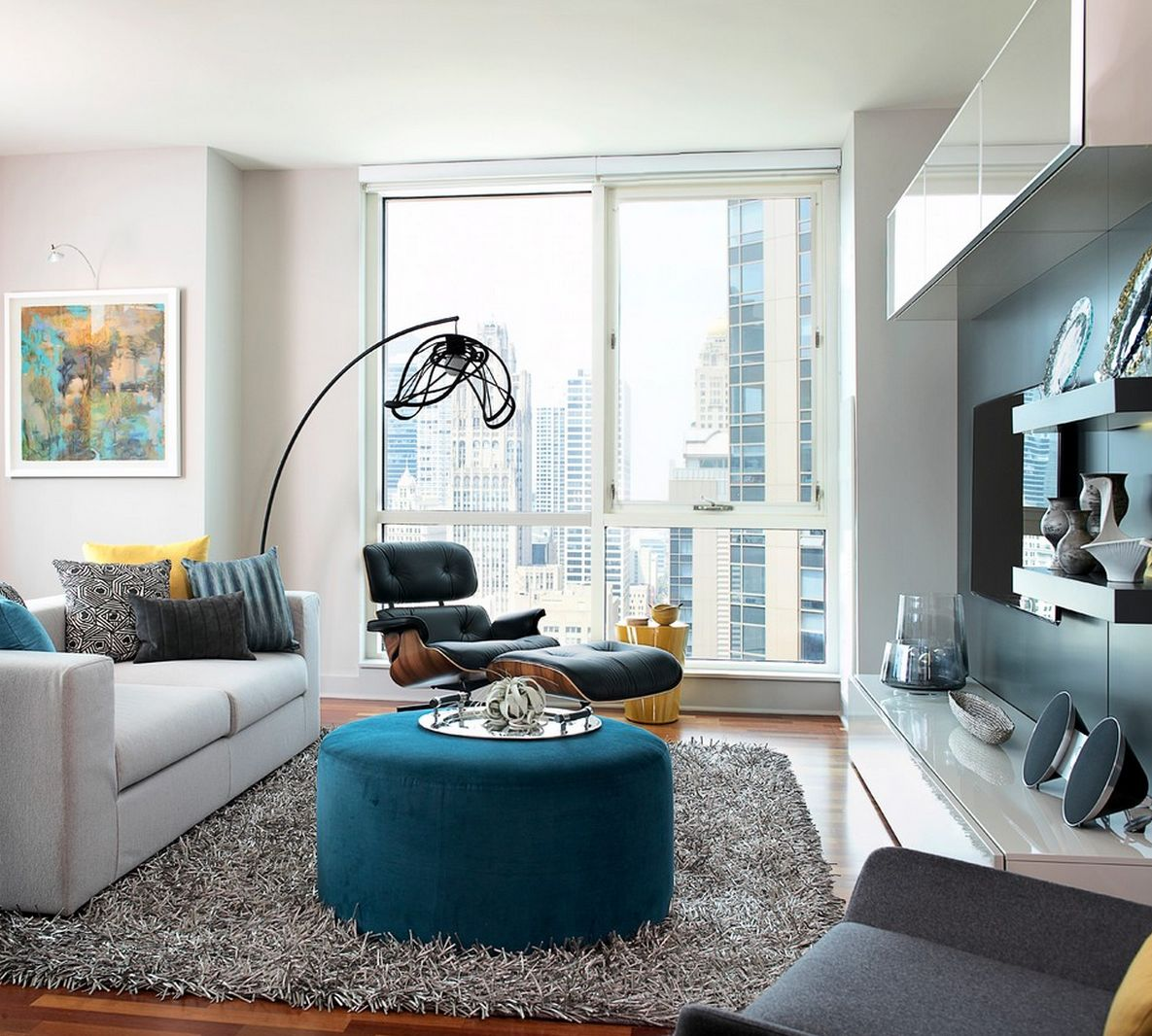 Living Room Ideas For Appartment With Grey Furry Rug Plus White Loveseat  Sofa And Colorful Custion