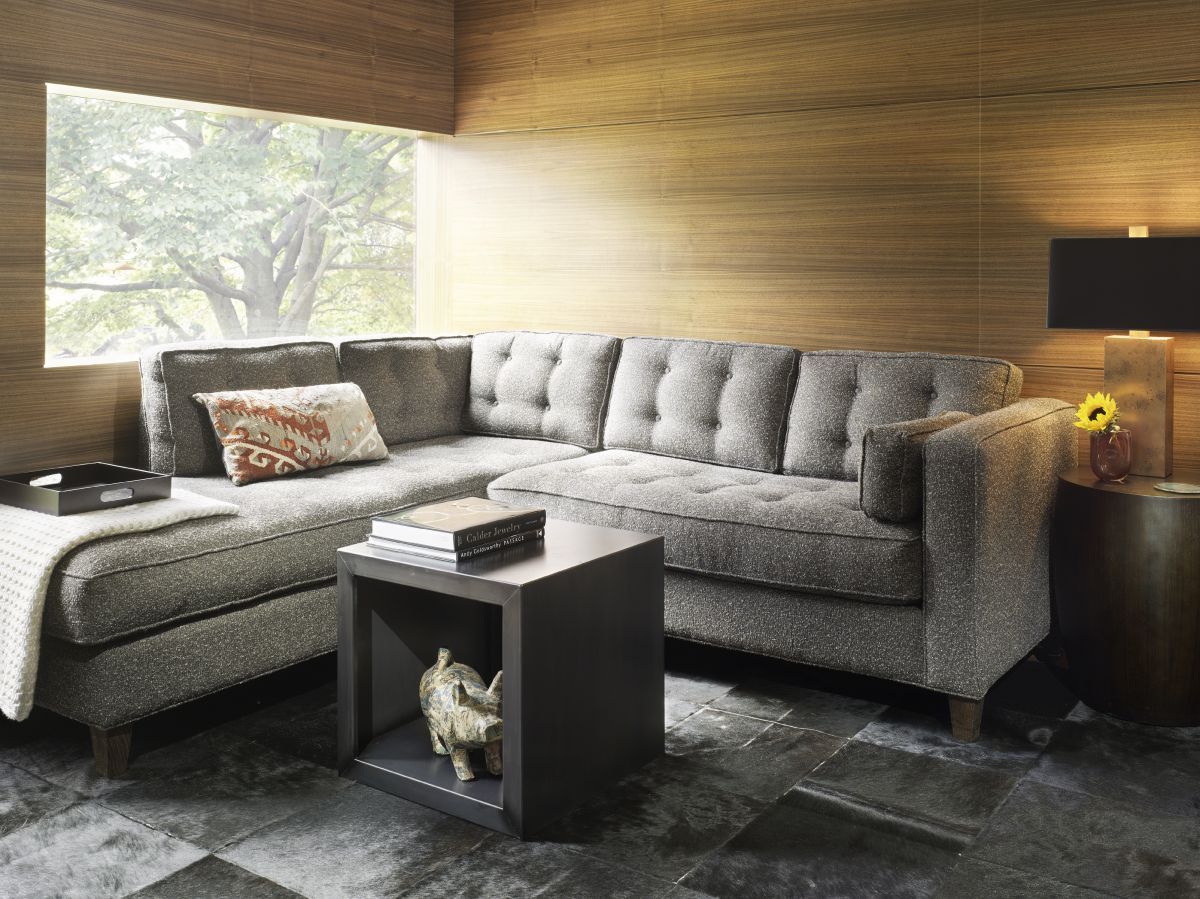 Loft Living Room Design With Wooden Siding And Box Coffee Table Storage Gray Patterner