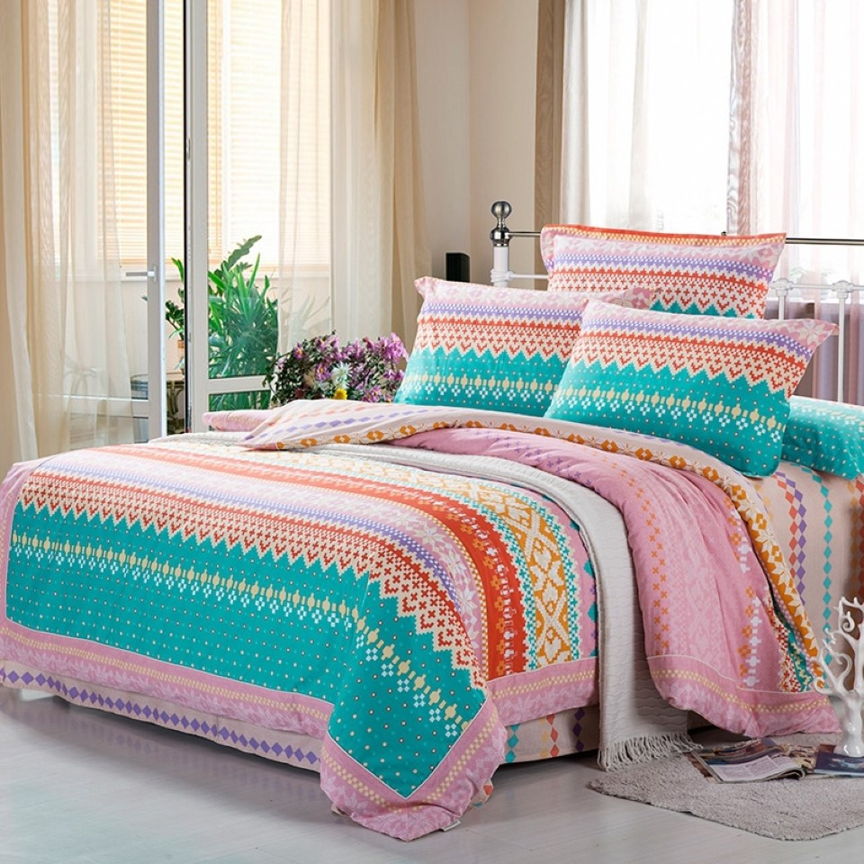 lovely combination of soft blue and pink tribal bedding pattern idea with chevron accent and gray