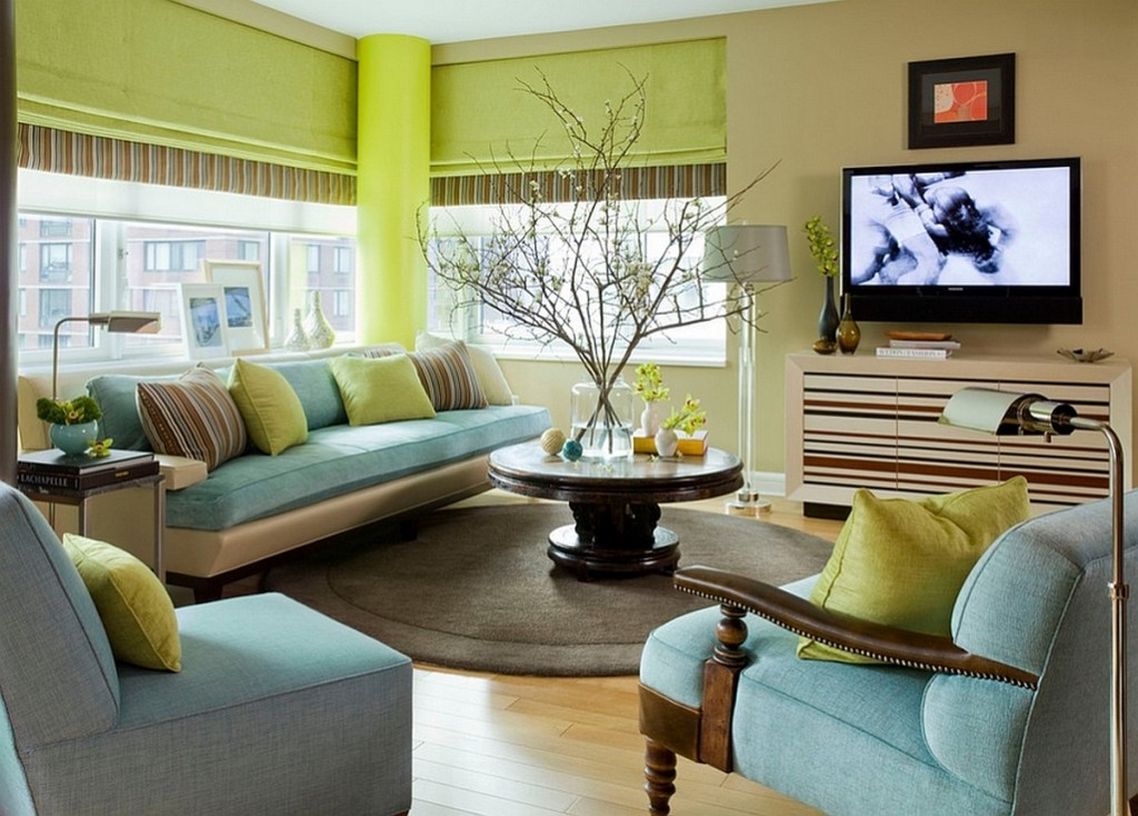 Luxurious Living Room Design Idea With Green Acent On Cushions Wall And Pole Unique Glass