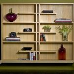 luxurious tan bookcase in teh living room idea with wooden board with indoor plant and floatingracks and green painted wall