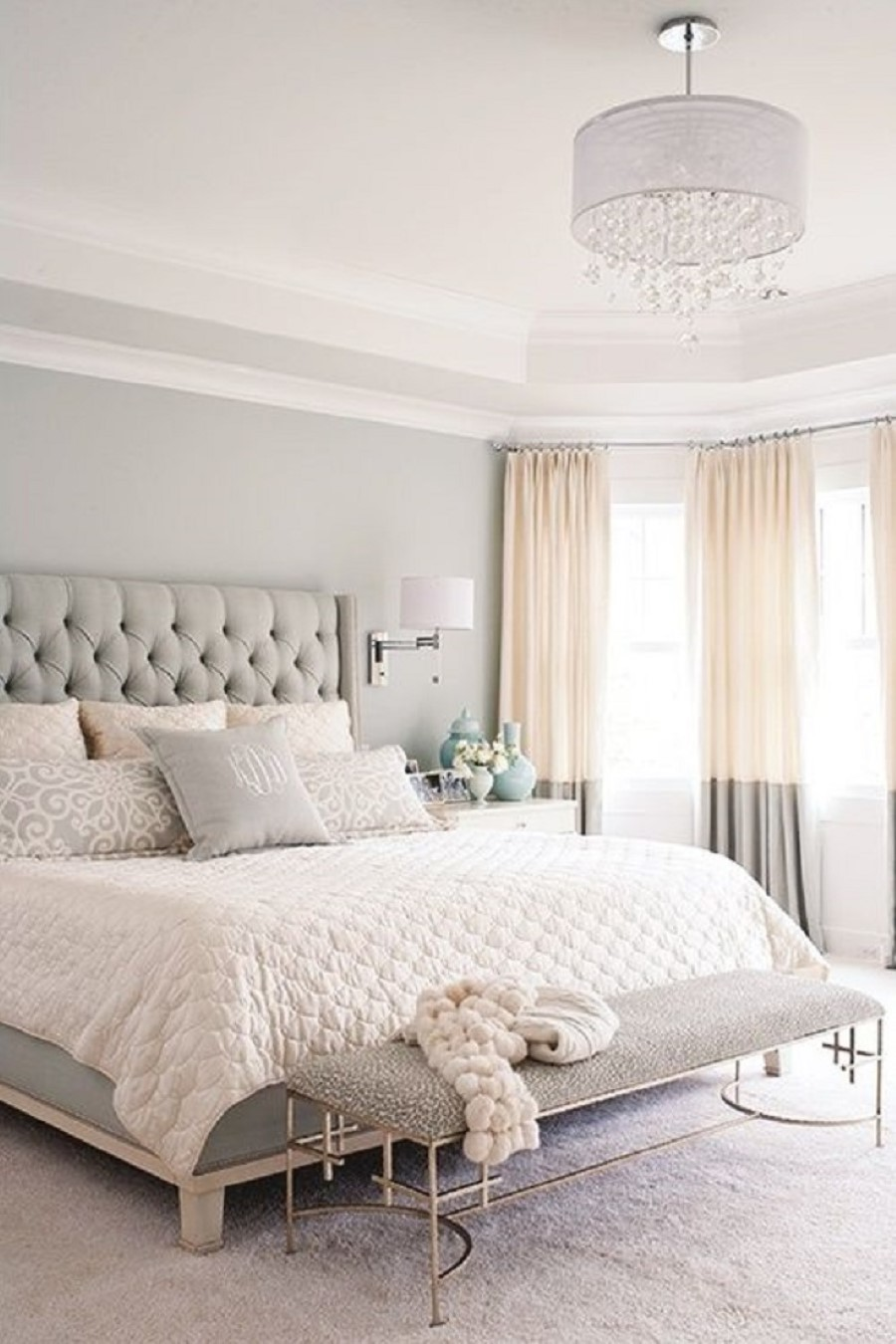 luxurious white best paint color for small bedroom with gray bedding