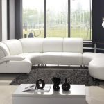 Luxury White Leather Unique Sectional Sofas In Modern Living Room With Grey Furry Rug And Rectangular White Glossy Coffee Table Pus Awesome Standing Lamp