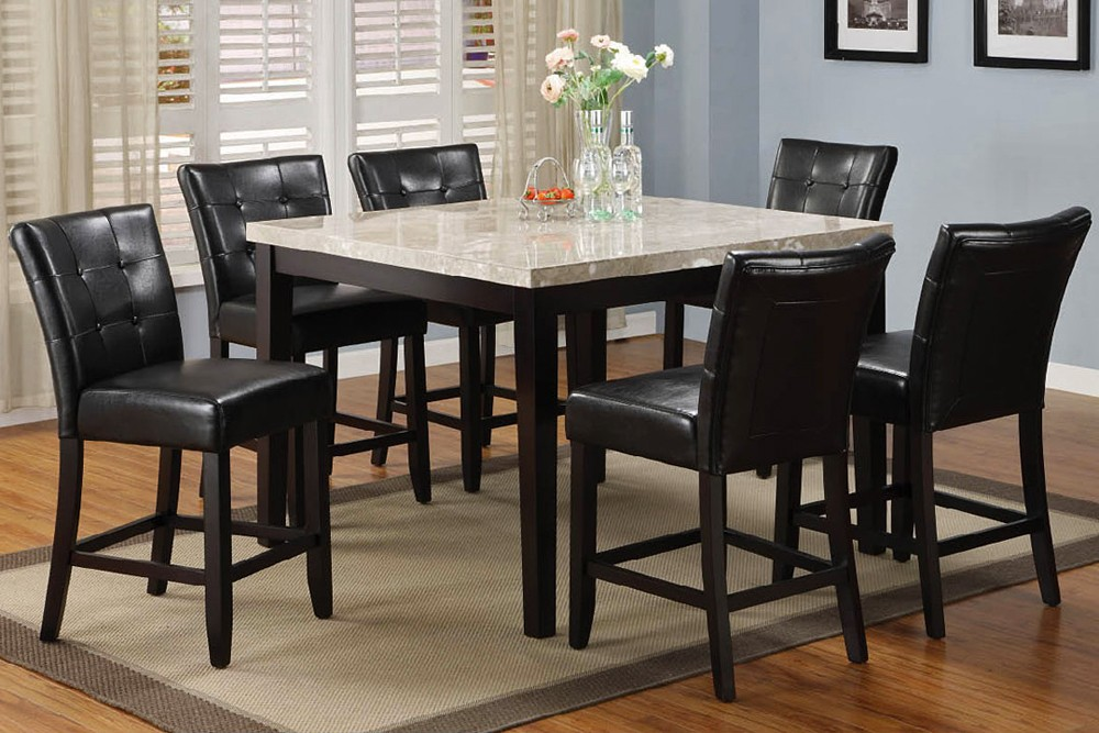 Captivating Marble High Top Table Sets With Black Leather Wooden Chairs Plus Beige  Modern Rug On Adorable