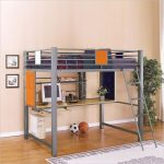 metal bunk beds with desks with ladder plus cozy bedding and metal shelf plus white rug and potted plant