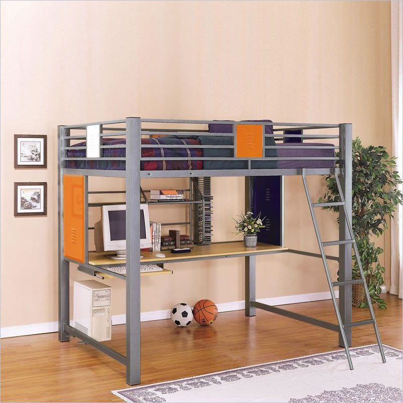 Metal Bunk Beds With Desks Ladder Plus Cozy Bedding And Shelf White Rug