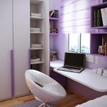minimalist bedroom ideas with purple box shelves plus small bedroom desks and sophisticated swivel chair plus wooden laminate floor anf grey rug and closets