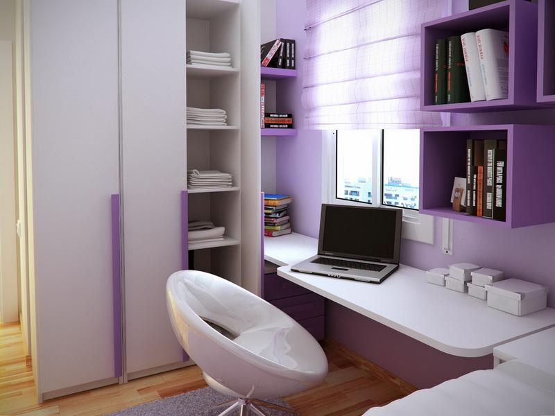 minimalist bedroom ideas with purple - Desk In Bedroom Ideas