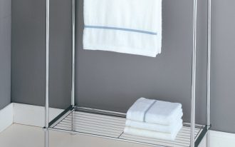 minimalist free standing towel racks with self beneath and grey painted wall and white tiling floor for awesome bathroom ideas