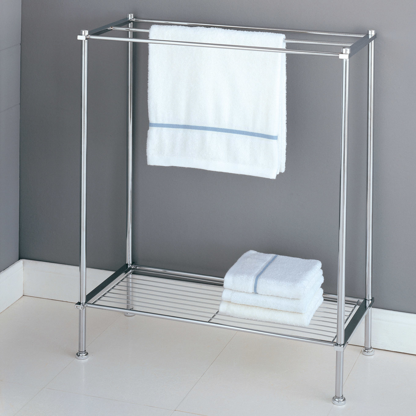 Stylish free standing towel racks for outstanding bathroom for Bathroom towel racks