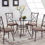 modern 40 round dining table with glass top and metal base plus mesmerizing chairs and floral rug and tiling floor
