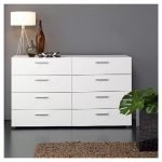 modern-Tvilum-Pepe-8-Drawer-Double-Dresser-in-white-for-straightforward-sophistication-with-minimalist-design-from-metal-hardware-on-metal-gliders-also-with-durable-quality