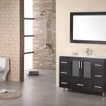 modern bathroom design with luxurious features and black vanity with rectangle framed wall mirror and semi open plan idea with brick wall accent