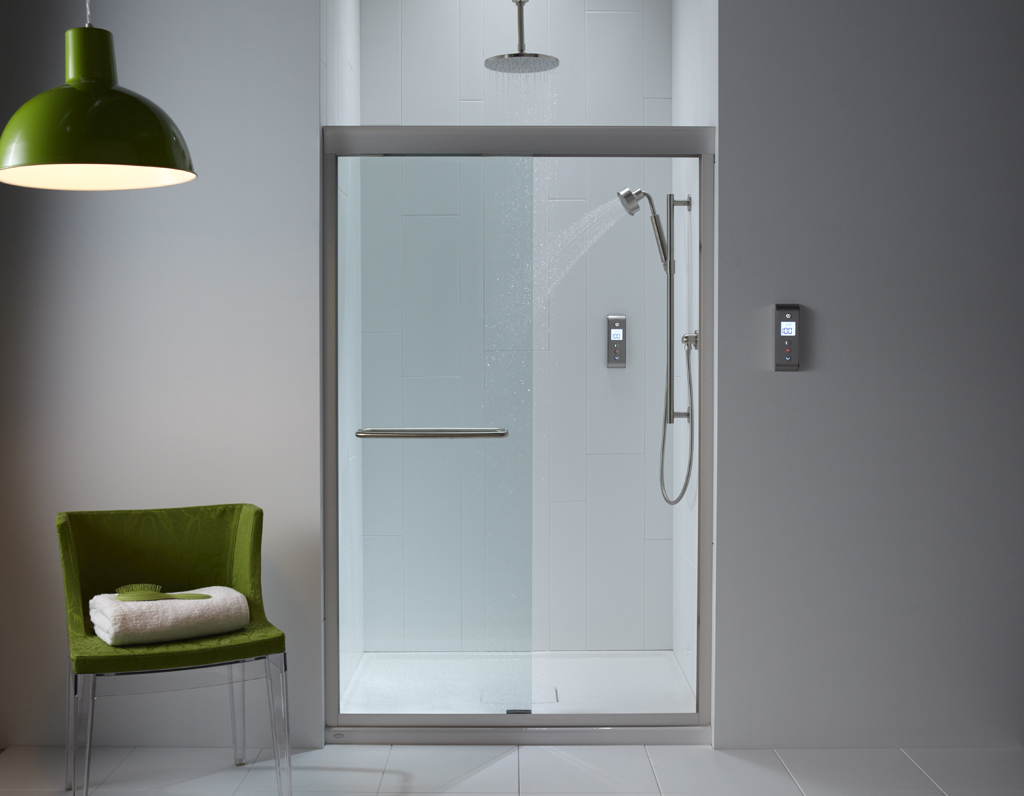 Bathroom dividers glass - Modern Bathroom Design With Modern Bathroom Shower Idea With Gray Wall Paint And Green Pendant And
