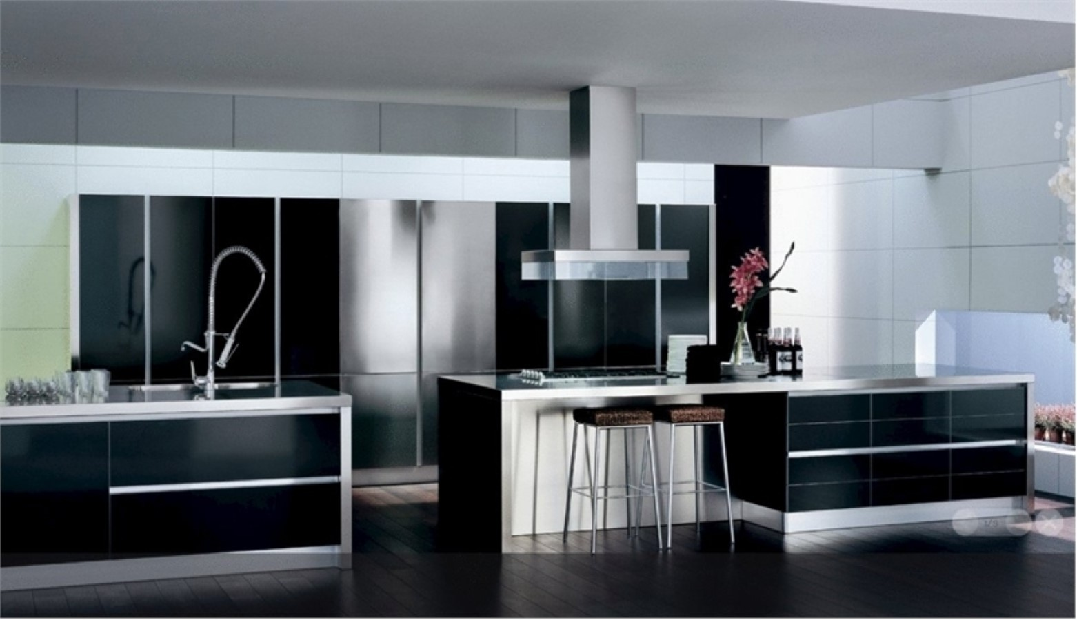 Black and white kitchen decor to feed exclusive and modern for Black and white kitchens photos